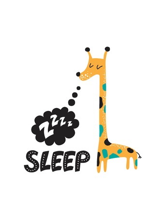 Illustration of a Sleeping giraffe with a text cloud and a sound Z-Z-z in cartoon style. For childrens room decor prints for baby textile design. Vector illustration