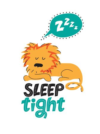 Illustration of a sleeping lion in cartoon style. Lettering hand drawn Sleep tight. For childrens room decor prints for baby textile design Çizim