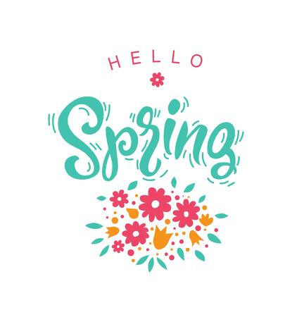 Hello, spring typography vector design for greeting cards and poster on white background. Vector illustration. For poster, banner, card design