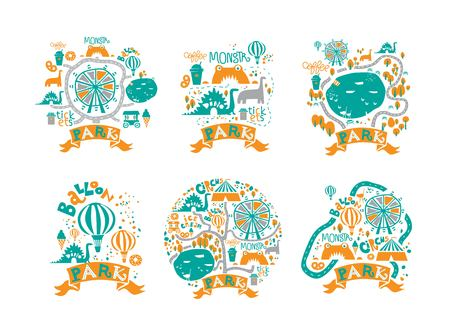 Amusement Park icons set in cartoon style with attractions and walking paths, pond, ice cream, coffee, Ferris wheel, balloon, a circus, dino. Festival, park or fair design. Vector illustration