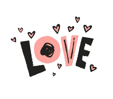 Love lettering. Hand drawn illustration with hand-lettering. This illustration ideal for Valentines day or wedding, as a print on t-shirts and bags, stationary or as a poster 일러스트