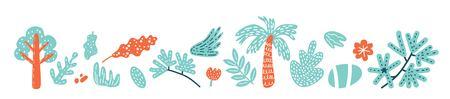Floral abstract elements set. Vector illustration. For poster, print, nursery, greeting  card, banner, labels, book illustrations, packaging design, Wallpaper 일러스트