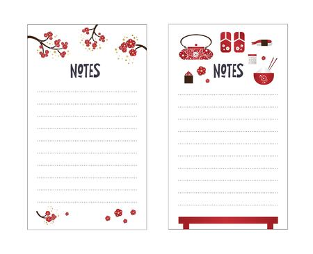 Vector weekly planner with japanese  elements, Sakura, sushi, sandals, teapot. To do list, notes blank. Schedule design template. 일러스트