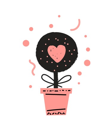 Houseplant in a pot cute vector illustration in cartoon style. Love mail.  Valentines day typography vector design for greeting cards and poster