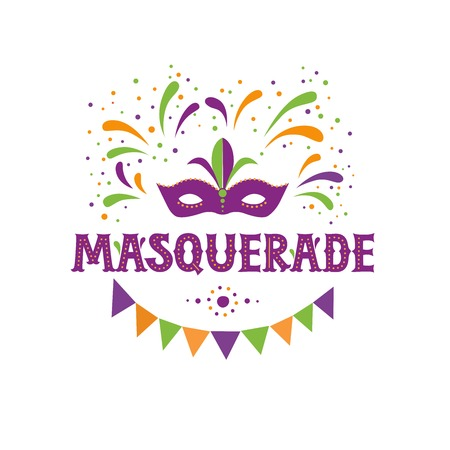 Carnival lettering logotype, emblem, icon on white background. Party, masquerade poster card, invitation, banner. Masquerade mask, garland, fireworks. Vector lettering typography design.