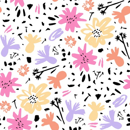 Vector Seamless repeat pattern with abstract flowers. Hand drawn fabric, invitation, gift wrap, wall art design, card, wallpaper. Mothers or Womens day design. Spring and summer seasons design. 일러스트