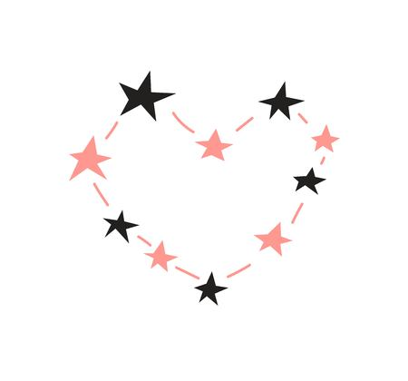 Valentines day greeting card design. Constellation of the Heart made of stars. Vector illustration for card, poster, invitation, party design. 일러스트