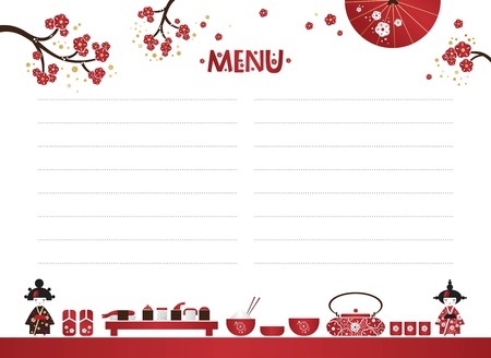 Restaurant cafe menu, template design in cartoon style. Asian cuisine. Food menu design with sushi, fan, sakura branches, Japanese girl and set of the ceremony. Vector illustration