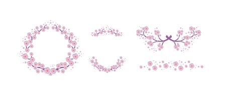 Illustration of Set floral elements with cherry blossom, cherry blossom flowers. For postcards, posters, wedding invitations and greetings happy Birthday