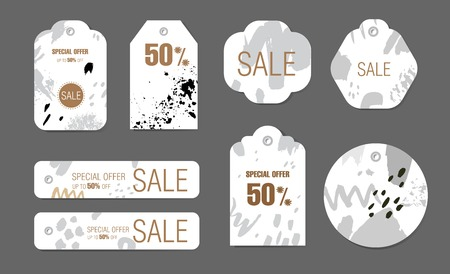 Holiday tags set with abstract calligraphic shapes background. Vector design Sale, Price offer elements on white. For spring, summer seasons, Valentines day, Mothers, Womens day.