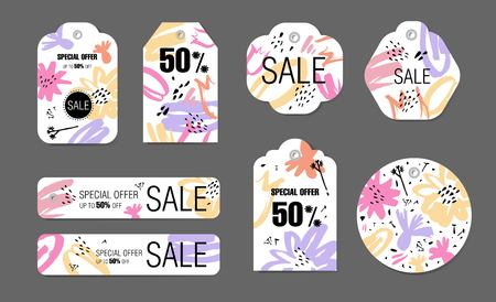Spring holiday tags set with abstract flower background. Vector design Sale, Price offer elements on white. For spring, summer seasons, Valentines day, Mothers, Womens day.