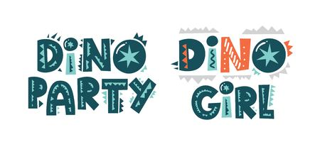 Colorful modern vector lettering in flat cartoon style. Dino party and Dino girl hand drawn lettering. Illustration for nursery t-shirt, kids apparel, fabric, logo, invitation, poster, card. 일러스트