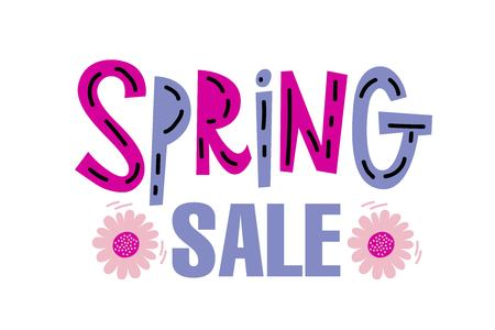 Concept Spring Sale banner with girls running with shopping in cartoon style. For your promotion, special offer, advertisement, hot price and discount poster isolated. Vector illustration
