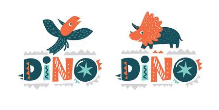 Dinosaur cute character vector illustration in flat cartoon style. Dino  hand drawn lettering. Illustration for nursery t-shirt, kids apparel, fabric,  logo, invitation, poster, card. 일러스트