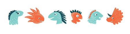 Cute vector dinosaurs set in cartoon style isolated on white background. For card, poster, nursery.