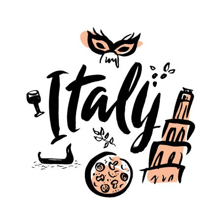 Set with iconic symbols in calligraphic style of Italy, Leaning tower of Pisa, pizza, Venetian gondola, mask, wine. Calligraphy Italy, vector.