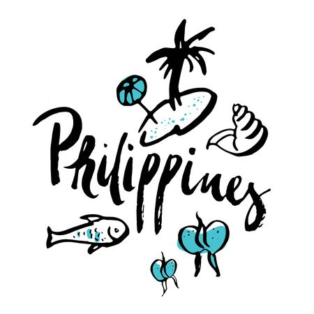 Philippines set of travel icons with traditional symbols and calligraphic isolated vector illustration. Hand drawn inscription of Philippines 일러스트