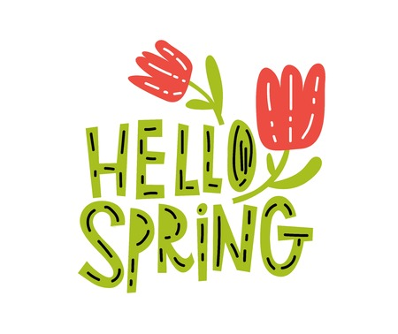 Hello, spring typography vector design for greeting cards and poster on white background. Vector illustration. Typography vector design for greeting cards and poster