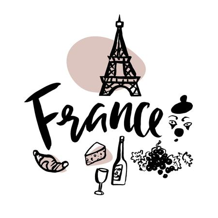 Set with iconic symbols in calligraphic style of the France. Calligraphy France, vector. Hand-drawn graphics: Eiffel tower, wine, cheese, croissant, street actor. For brochure, guide, postcard, poster 일러스트