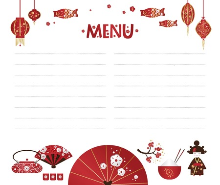 Vector weekly planner with Set of Japanese girl, Kokeshi doll, fan, umbrella, Japanese lanterns, fish, cups with rice and sticks,  tea bowls, cherry blossom. Schedule design template