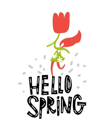 Vector Hello, Spring sign, emblem with hand drawn lettering and grey abstract shapes on white background. Typography vector design for greeting cards and poster