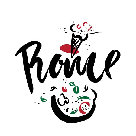 Set with iconic symbols in calligraphic style of the Rome. Calligraphy Rome, vector. Hand-drawn graphics: pizza, italian ice cream. For brochure, guide, postcard, poster