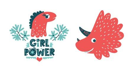 Dinosaur cute baby girl vector illustration and dino character in flat cartoon style. Girl power hand drawn lettering. Illustration for nursery t-shirt, kids apparel, logo, invitation, poster, card. 일러스트