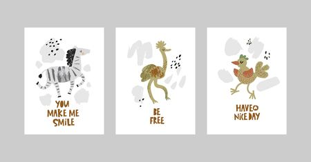Cards or posters set with cute animals, zebra, ostrich, bird in cartoon style. Cute elements and motivational sayings, quotes. Vector illustration for kids design