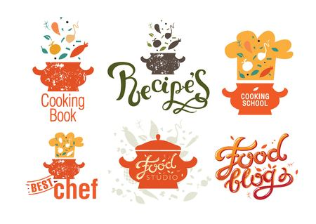Set of badges, labels, logos for food blog, foods shop, recipes book and cooking courses with vector illustration, vegetables, chef's cap, tureen.