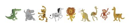 Vector illustration set of cute dancing animals in cartoon style. Ostrich, lion,  monkey, crocodile, hippo, zebra, kangaroo, leopard, llama. Children print,  nursery design