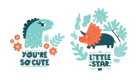 Dinosaurs cute vector illustration in flat cartoon style. You are so cute and Little star hand drawn lettering. Illustration for nursery t-shirt, logo, invitation, poster, card, baby shower 일러스트