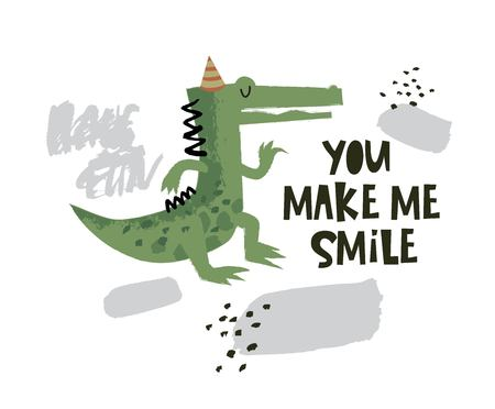 Cute crocodile dancing illustration with text You make me smile on hand drawn shapes background. Vector flat cartoon illustration for card, poster, nursery, fabric