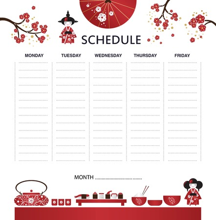 Vector weekly planner with japanese icons in cartoon style and cute elements, umbrella, Sakura, sushi, kettle, rice, Kokeshi doll, fan. Schedule design template 일러스트