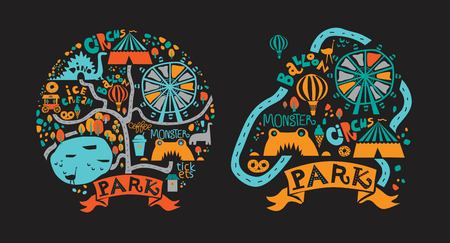 Amusement Park icons set in cartoon style with attractions and walking paths, pond, ice cream, coffee, Ferris wheel, balloon, a circus, dino. Festival, park or fair design. Vector illustration 일러스트
