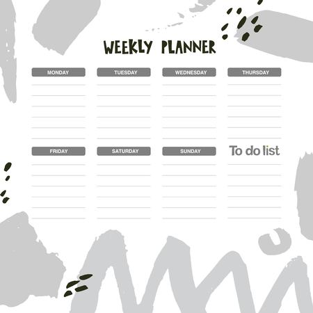 Weekly and Daily Planner template with abstract shapes in a calligraphic style. Hand drawn vector illustration. Grunge texture and lines, points, graphic elements. Schedule and organizer design.