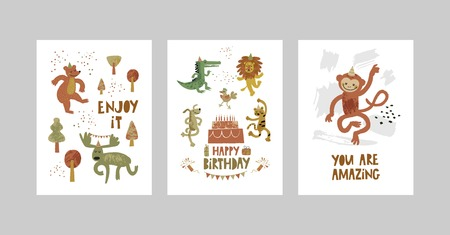 Cards or posters set with cute animals, crocodile, elk, bear, monkey, leopard, lion, dog in cartoon style. Cute elements and motivational sayings, quotes. Vector illustration for kids design