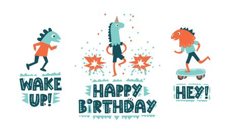 Handwritten modern lettering Happy Birthday with a boys in a dinosaur mask illustration on white background in cartoon style. Typography design for greetings card, poster, banner, party invitation 일러스트