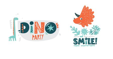 Dinosaurs cute vector illustration in flat cartoon style. Dino party and Smile! hand drawn lettering. Illustration for nursery t-shirt, kids apparel, logo, invitation, poster, card, baby shower