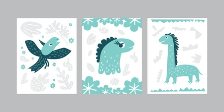 Cards or posters set with dinosaur illustration in cartoon style. Cute elements and characters. Vector illustration for kids design, card, poster 일러스트