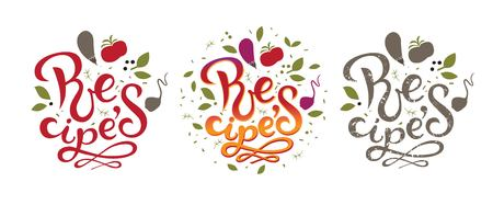 Recipes sign, logo, emblem. Vector illustration. For a book of recipes, Cooking classes, culinary blog or postcards. 일러스트