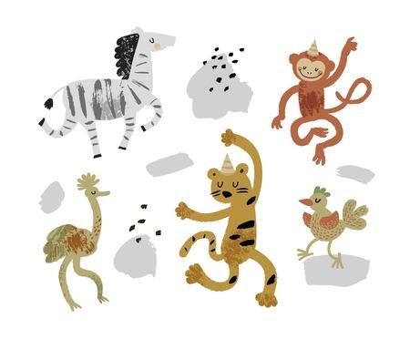 Vector illustration set of cute dancing animals in cartoon style. Ostrich, monkey, zebra, leopard. Children print,  nursery design 일러스트