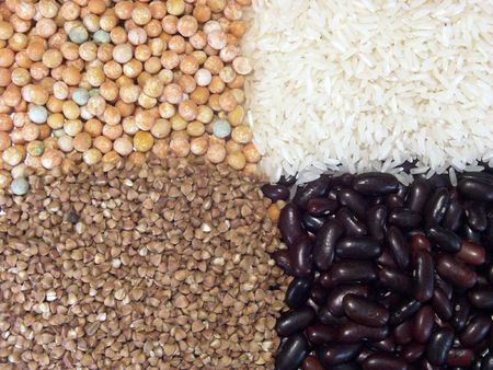 buckwheat: Background of dried peas, rice, kidney beans and buckwheat close-up Stock Photo