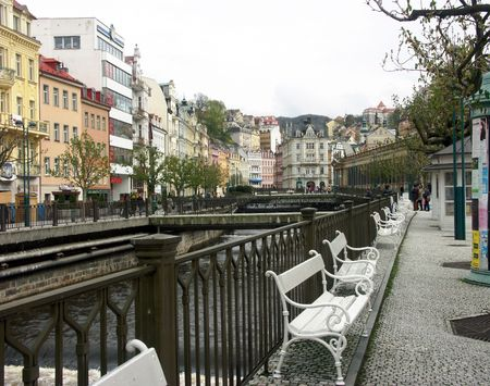 vago: vacant benches on a bank of river tepla in karlovy vary