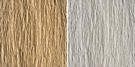 goffer: Set of two goffered paper textures: light-brown and white (light-gray) Stock Photo