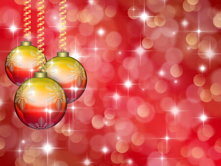 scarlet: Christmas red background with decorations of two colours: golden and red Stock Photo