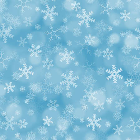 weldless: Seamless blue pastel background with boke effect and snowflakes Stock Photo
