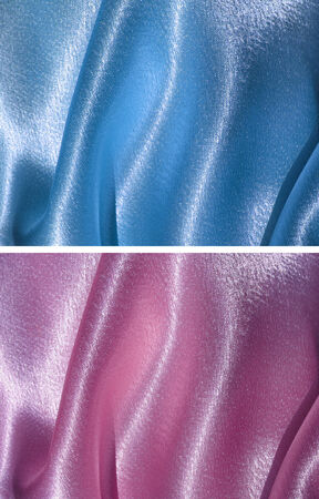 waved: Set of two satin backgrounds with drapery - blue and pink