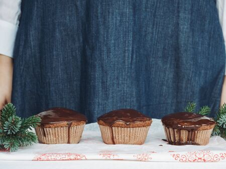 Fresh and fragrant Christmas cupcakes decorated with homemade, hot chocolate