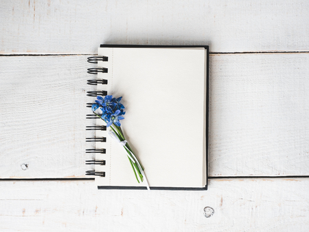 Empty note pad for congratulations to colleagues, friends, relatives and loved ones with beautiful flowers on an isolated, light background. Preparation for the holiday