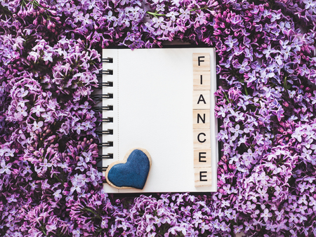 Blank page for Your inscription with the text fiance Stock Photo